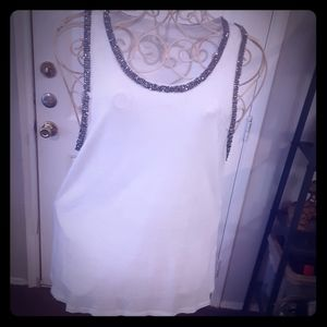 White True Religion tank with beaded accents